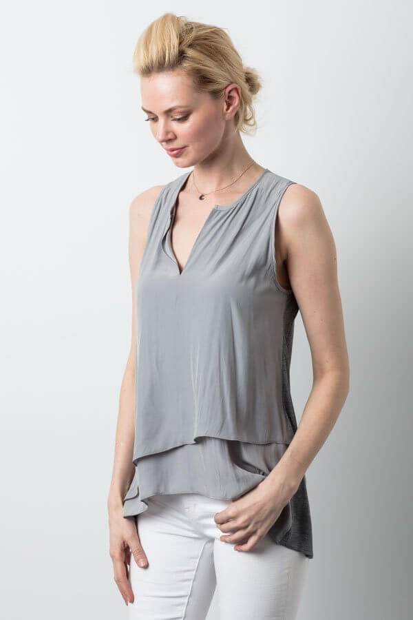 Distressed Satin Top - Clay
