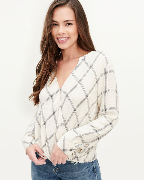 Averill Plaid Blouse - Cloud