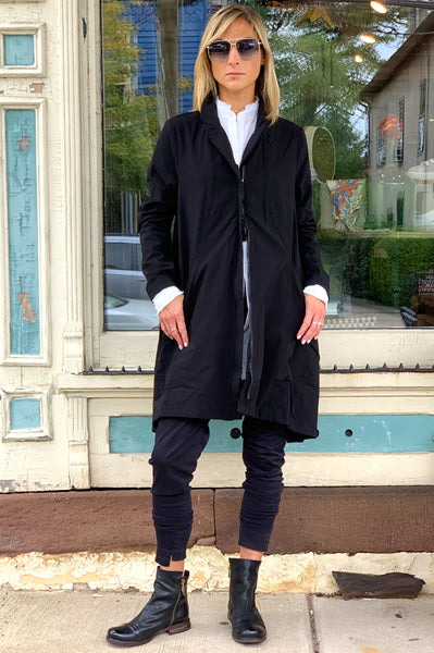 Zip Up Coat - Black