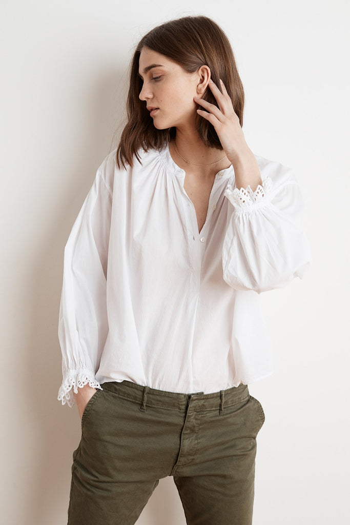Jacoba Cotton Poplin Oversized Peasant Blouse - White