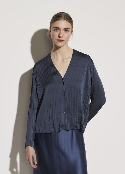 Crushed Satin V-Neck - Deep Azul