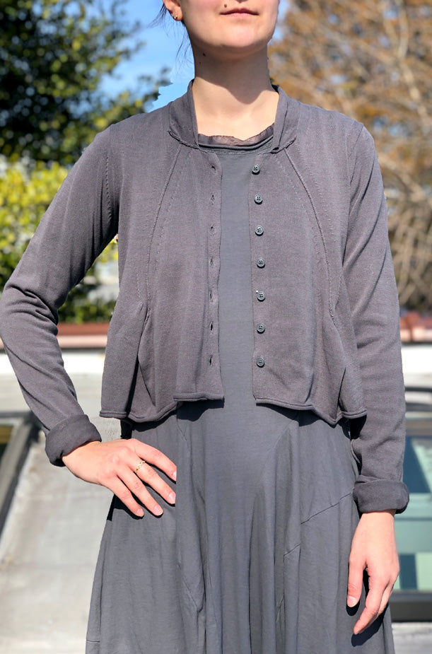 Cropped Cardigan - Dark Grey