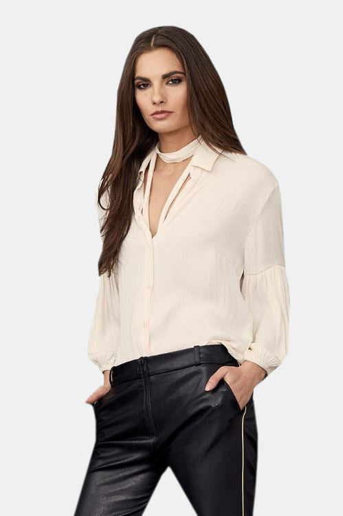 Collared Pleated Sleeve Blouse - Cream