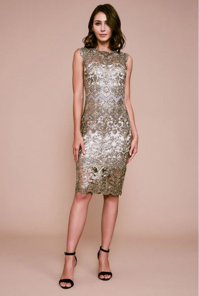 Delta Sleeveless Sequin Embroidered Dress - Smoke Grey