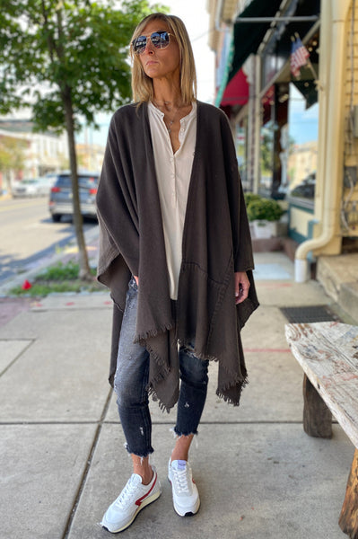 Textured Poncho - Dark Brown