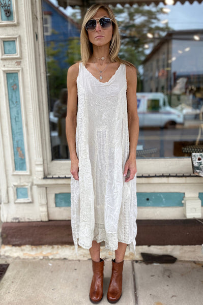 Cotton Embroidered Tank Dress - Moonlight