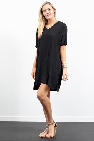 Drop Shoulder V-Neck Combo Dress - Black