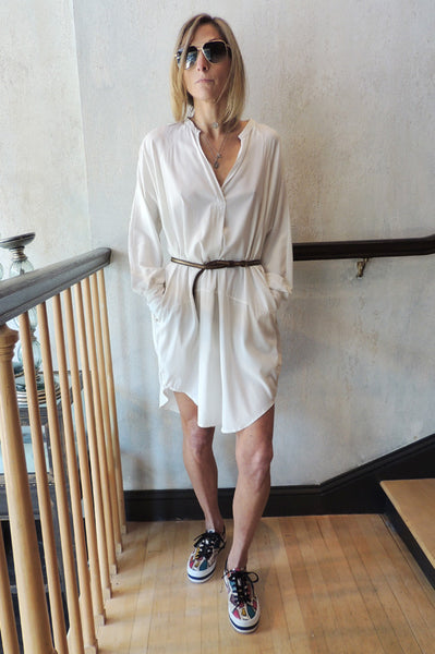 Long Sleeve V Neck Dress - White