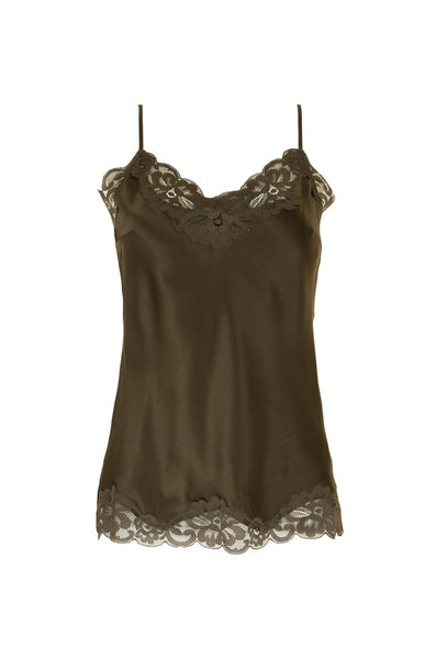 Floral Lace Silk Cami - Dark Olive