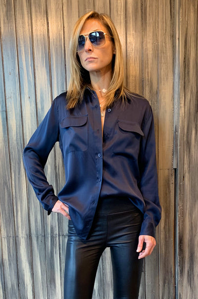 Signature Silk Satin Shirt - Eclipse