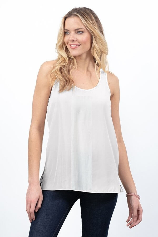 Side Slit Basic Tank Top - Eggshell
