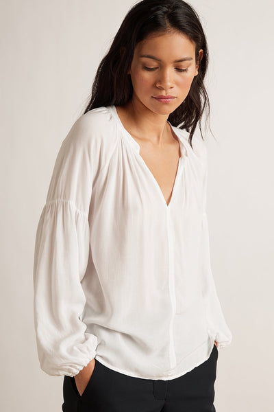 Elaine Rayon Challis Long Sleeve Peasant Top - White