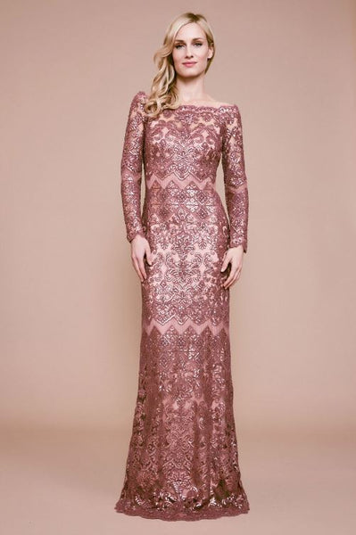 Eve Long Sleeve Sequin Embroidered Gown - Mauve
