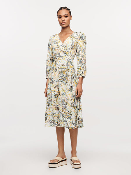 Evelyn Reversible Crepe Midi Wrap Dress - Astrantia Tulip Shell