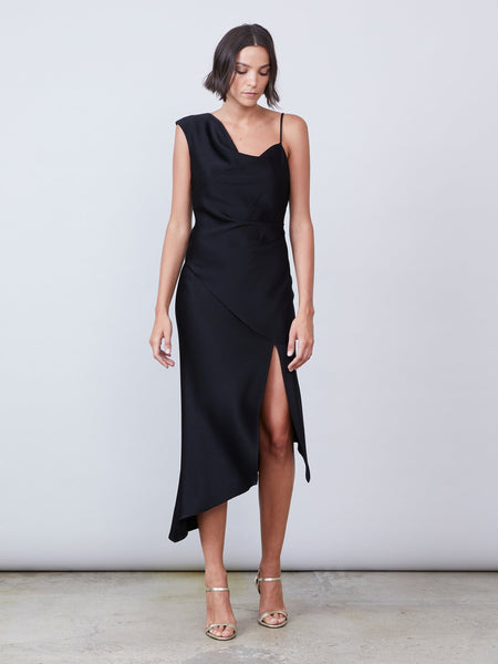 Everly Satin Dress - Black