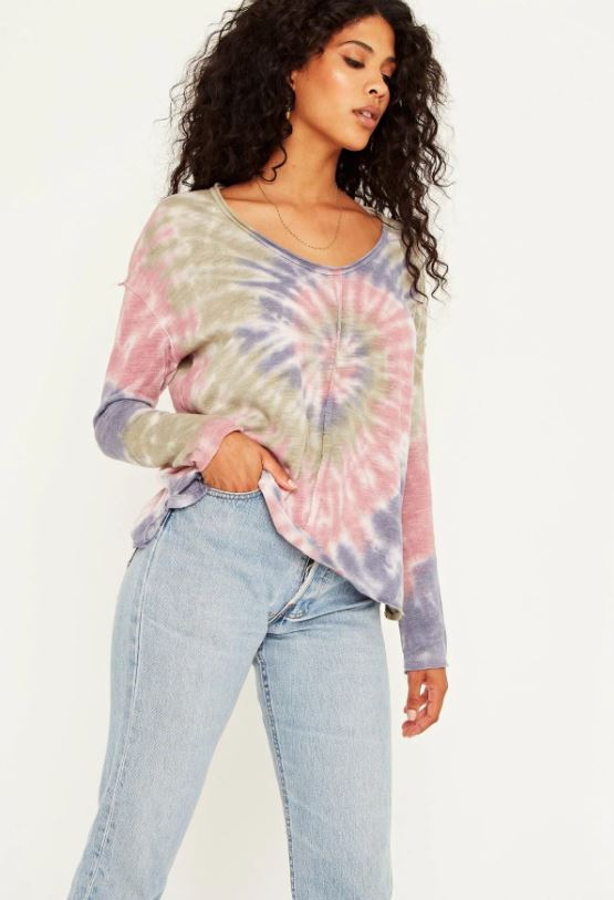 Fall Feeling Tie Dye Long Sleeve - French Blue Haze