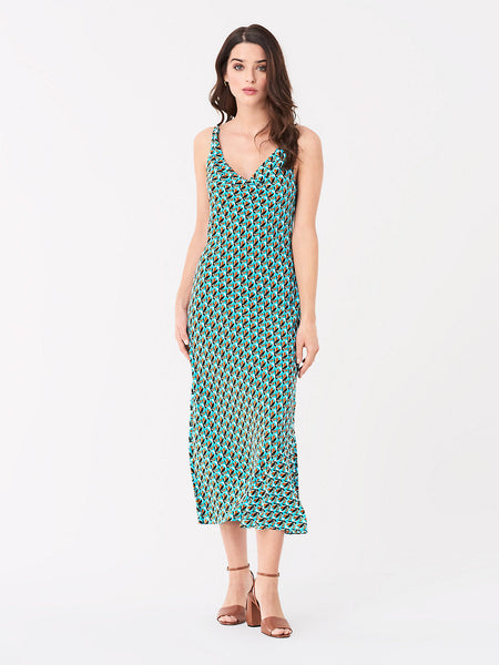 Finley Viscose Slip Dress - Fleur Geo Seagreen