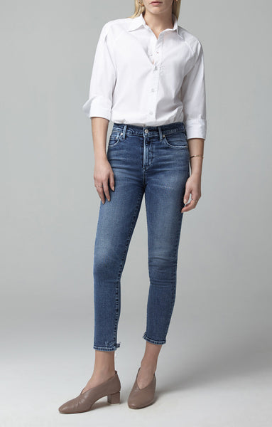 Rocket Crop Mid Rise Skinny - Flicker