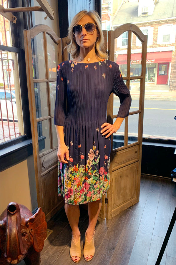 3/4 Sleeve Print Crinkle Dress - Navy Butterfly