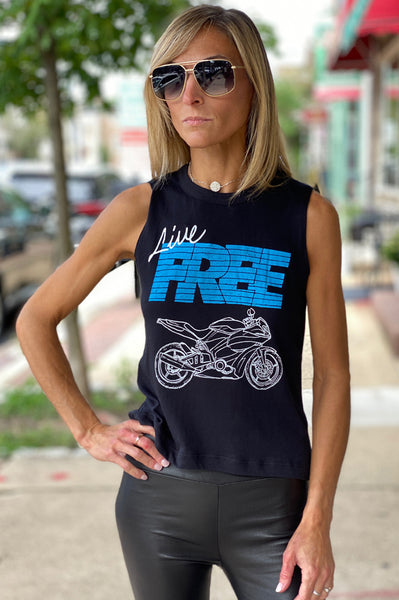 Live Free Muscle Tee - Black