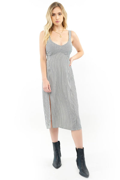 Georgia Midi Dress - White Pinstripe
