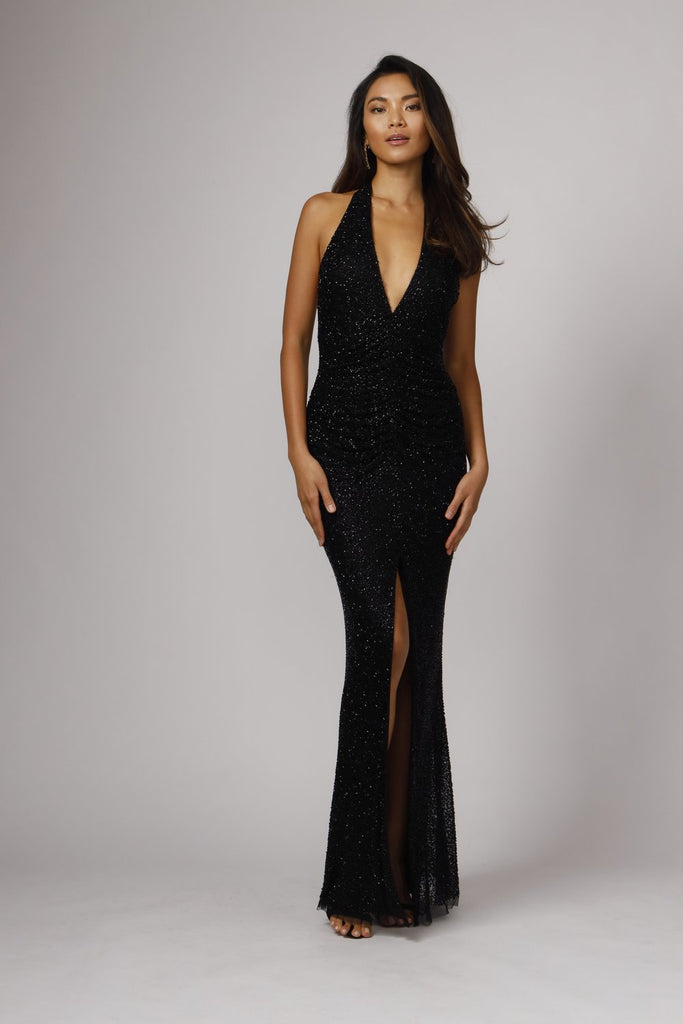 Gibb Hand Beaded Halter Gown - Black
