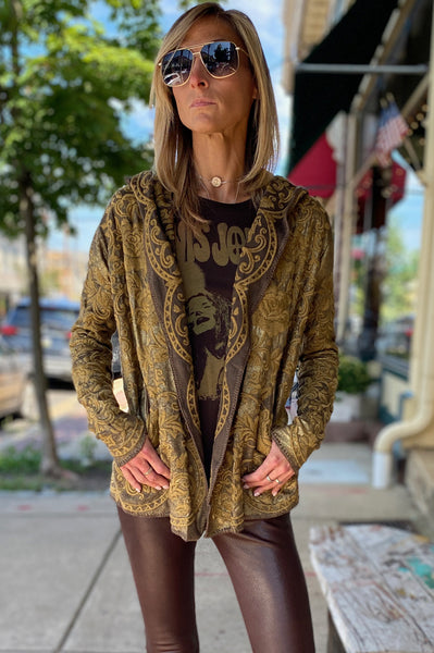 Rio Embroidered Metallic Hoodie - Gold