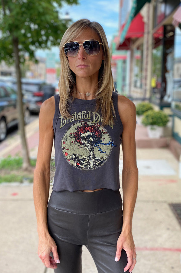 Grateful Dead Crop Tee - Black