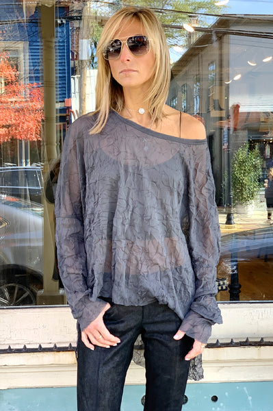 Veda Sheer Mesh Top - Grey