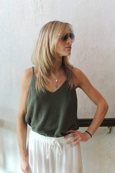 V Neck Knit Tank - Green