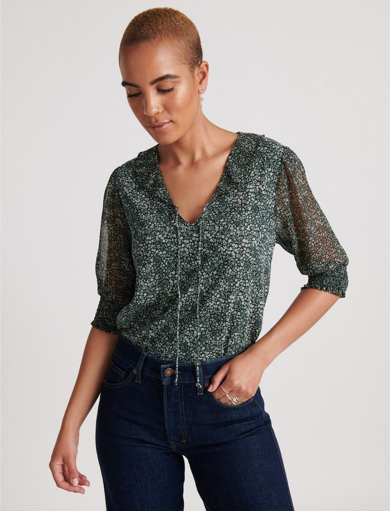 Mix Media V-Neck Flutter Top - Green Multi