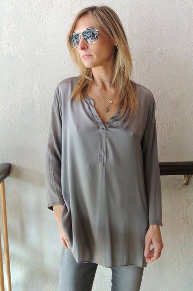 Banded Collar V Neck Blouse - Grey