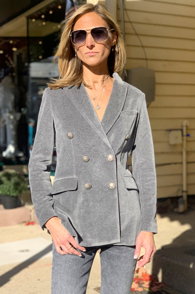 Velvet Double Breasted Blazer - Grey