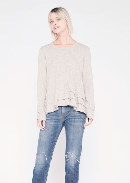 L/S Crew w/ Layered Hem & Ruched Sleeve - Grey Heather