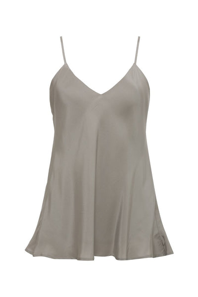 Double Solid Silk Cami - Steeple Grey