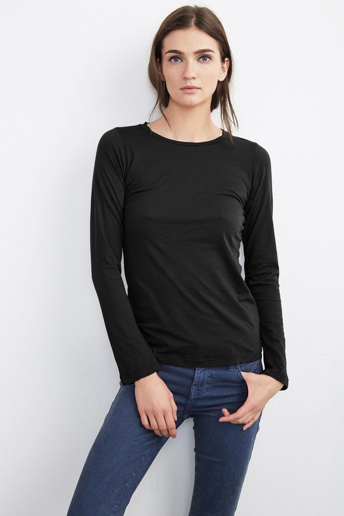 Zofina Gauzy Whisper Fitted Crew Neck Tee - Black