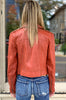 Josey Leather Moto Jacket - Habanero