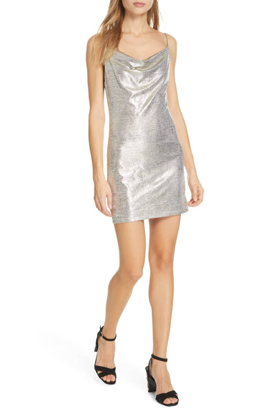 Harmie Cowl Neck Mini Dress - Silver