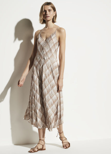 Hazy Plaid Cami Dress - Sun Taupe