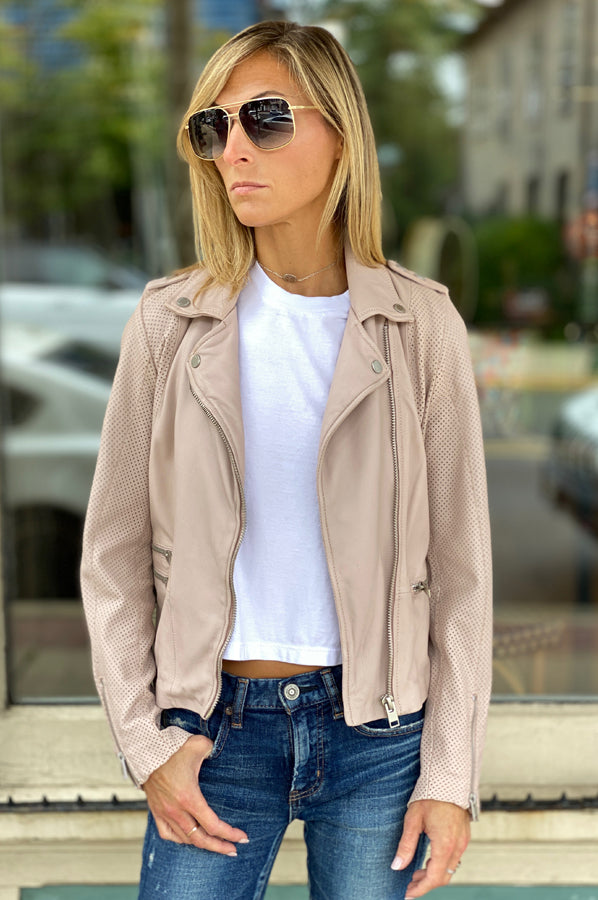 Hera Leather Jacket - Pale Pink