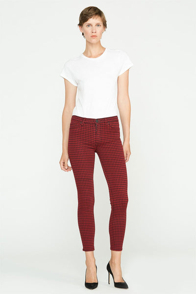 Barbara High Rise Super Skinny Ankle Jean - Oxblood Houndstooth
