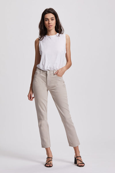 Barbara High Rise Crop Straight Jean - Ivory