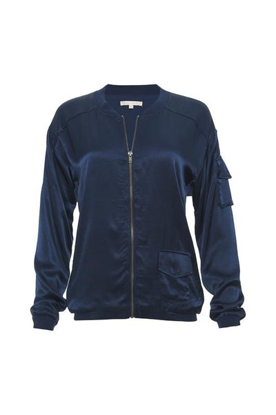 Hayley Silk Bomber Jacket - Navy