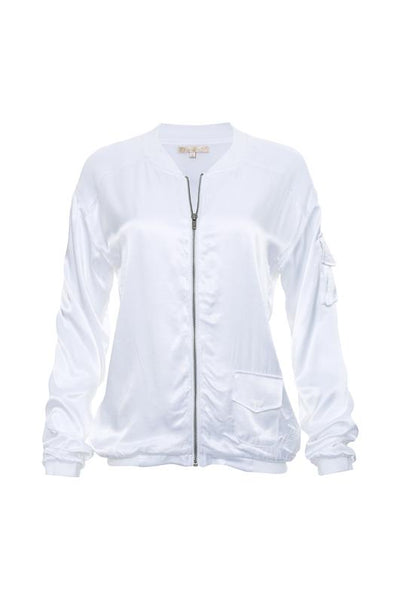Hayley Silk Bomber Jacket - White