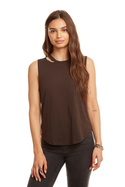 Vintage Jersey Cropped Vented Neck Tank - Union Black