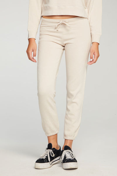 Cashmere Fleece Paneled Jogger - Sugar Cookie