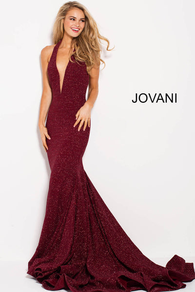 Halter Plunging Neck Prom Dress - Wine