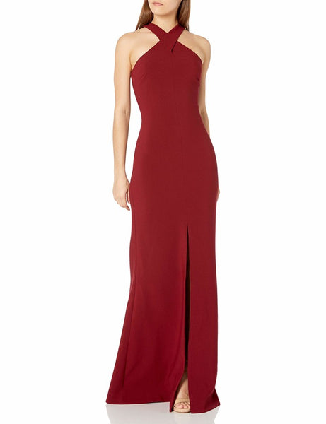 Kingsbury Cross Halter Gown - Garnet