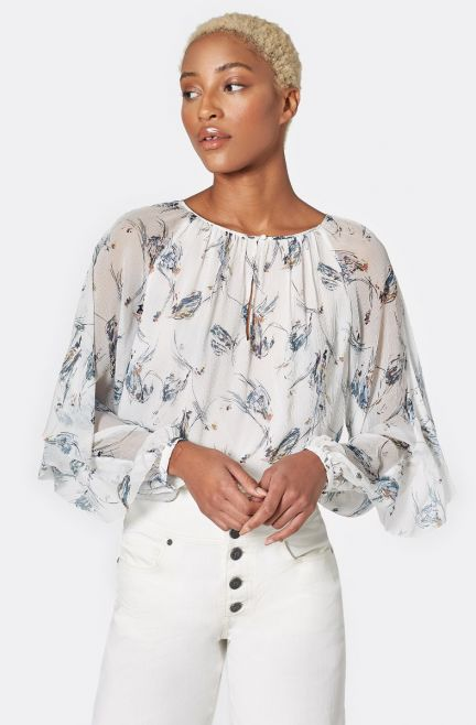 Kriston B Silk Top - Porcelain