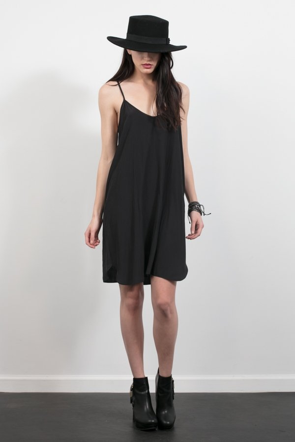 Distressed Satin Slip Dress - Black